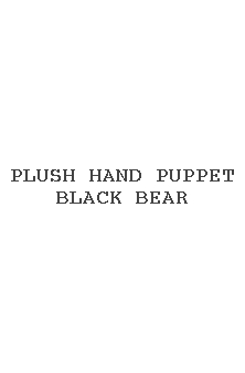 Plush Hand Puppet Black Bear