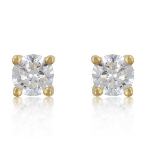 4 Mm Sterling Cz Gold Studs