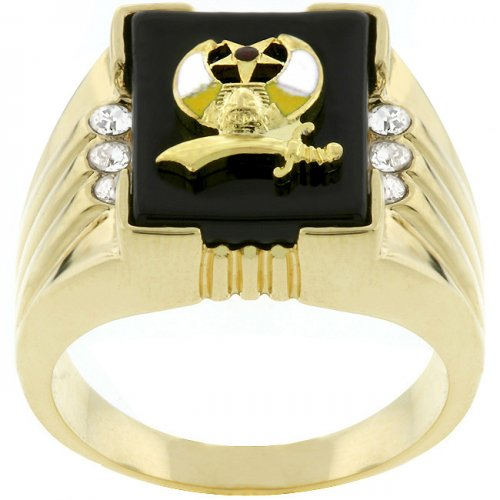 3-stone Shriners Men's Ring (size: 11)