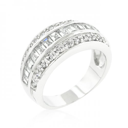 3-row Cubic Zirconia Band (size: 10)