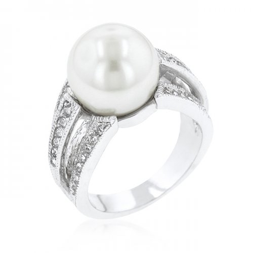 12 Mm Shell Pearl Bridal Ring (size: 10)