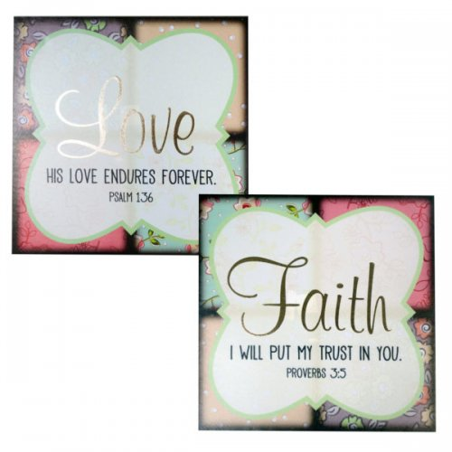 Faith & Love Patchwork Canvas Wrapped Wall Art