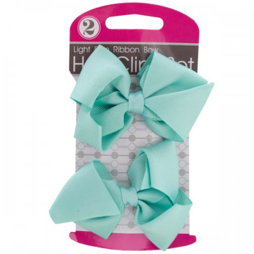Light Blue Ribbon Bow Hair Clips Set