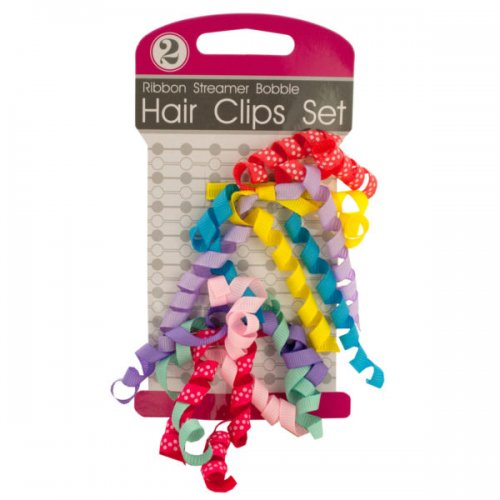 Ribbon Streamer Bobble Hair Clips Set