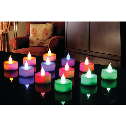 Northpoint 12-piece Multicolored Led Tealight Set With 3 Batteri