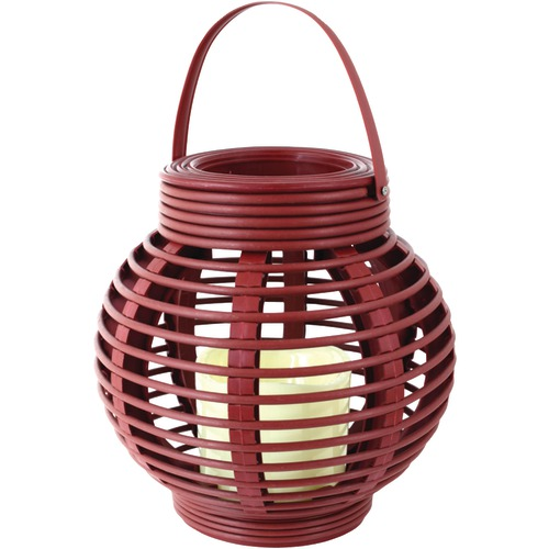 North Point Rattan Basket Led Candle (red)