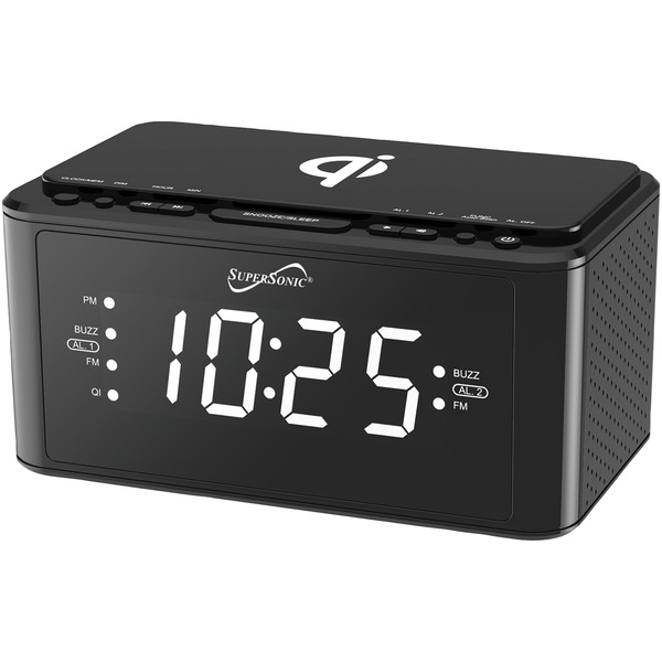 Supersonic Clock Radio With Qi Wireless Charging Station (black)