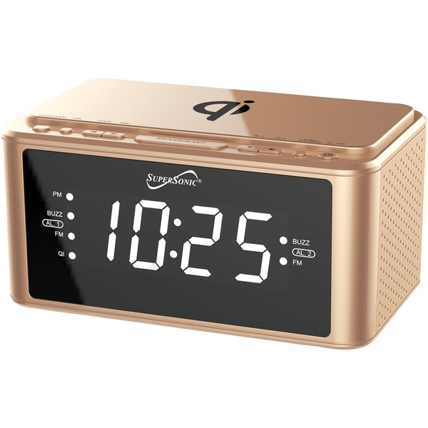 Supersonic Clock Radio With Qi Wireless Charging Station (gold)
