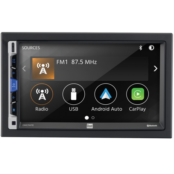 Dual 7-inch Double-din In-dash Mechless Receiver With Bluetooth&