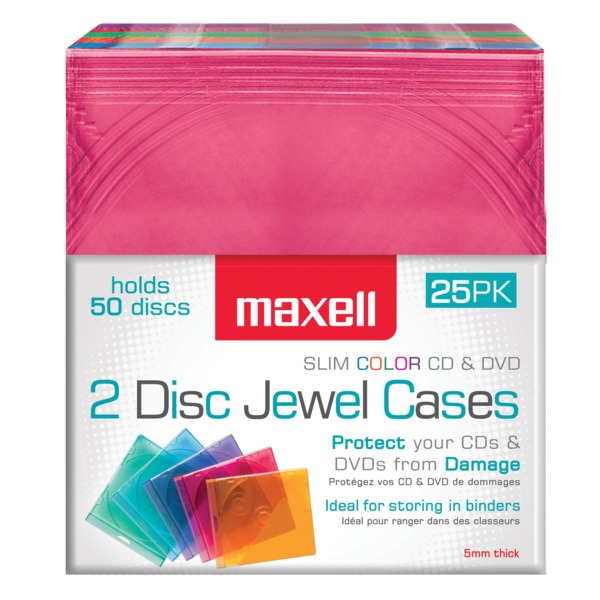 Maxell Dual-disc Jewel Cases, 25 Pack