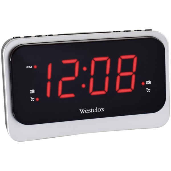 Westclox 1.4-inch Red Led Clock Radio With Nature Sounds And 1 A