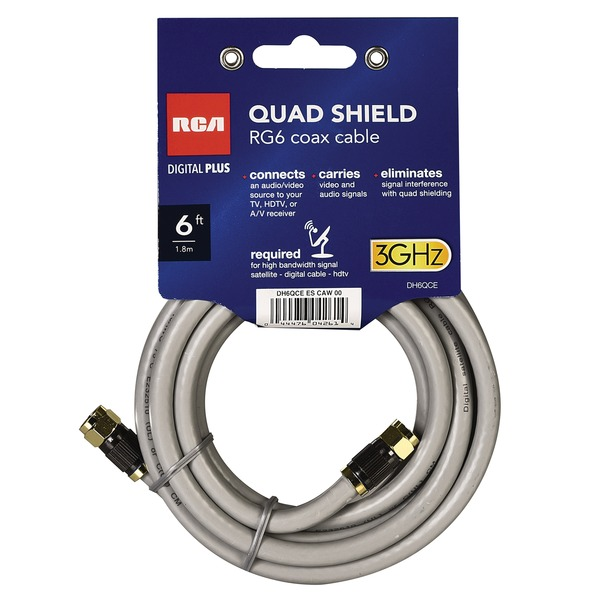 Rca Quad-shield Rg6 Coax Cable, 6 Feet