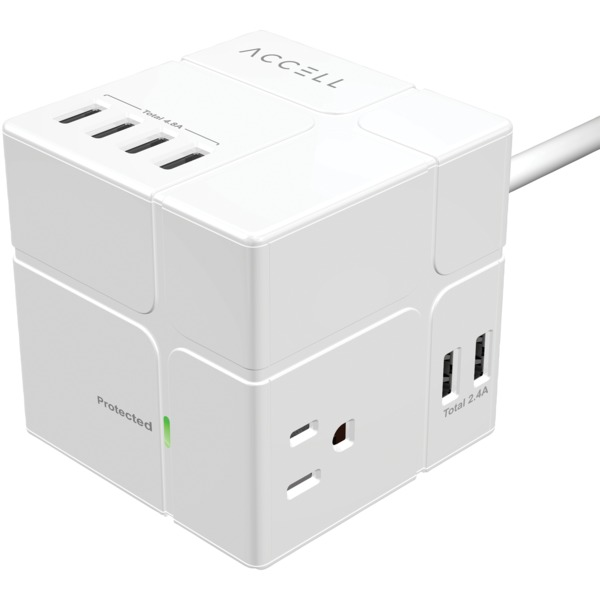 Accell Power Cube With Surge Protection (white)