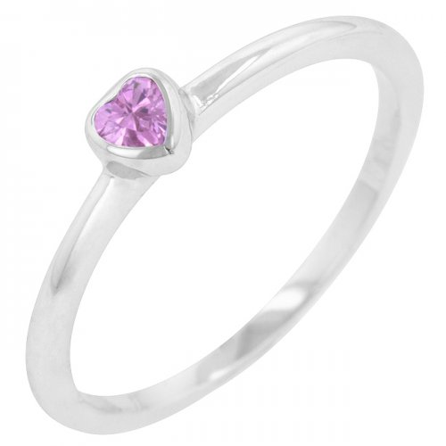 Mini Pink Heart Solitaire Ring (size: 05)