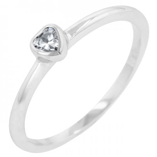 Clear Heart Solitaire Ring (size: 05)