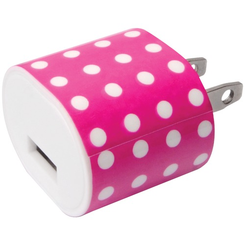 Iessentials 1-amp Usb Wall Charger (pink Polka Dot)